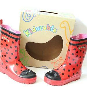 Kidorable Other - NWT Kidorable Red & Black Ladybug Rain boots