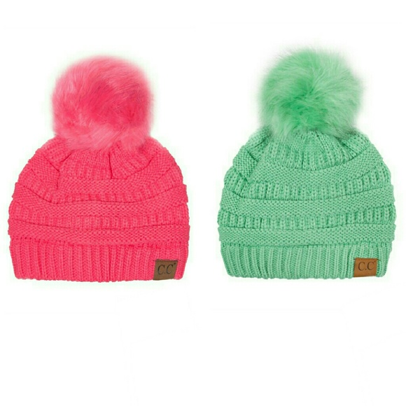 645fc4a376a    Hot Pink or Mint Pom Pom CC Beanie Winter Hat