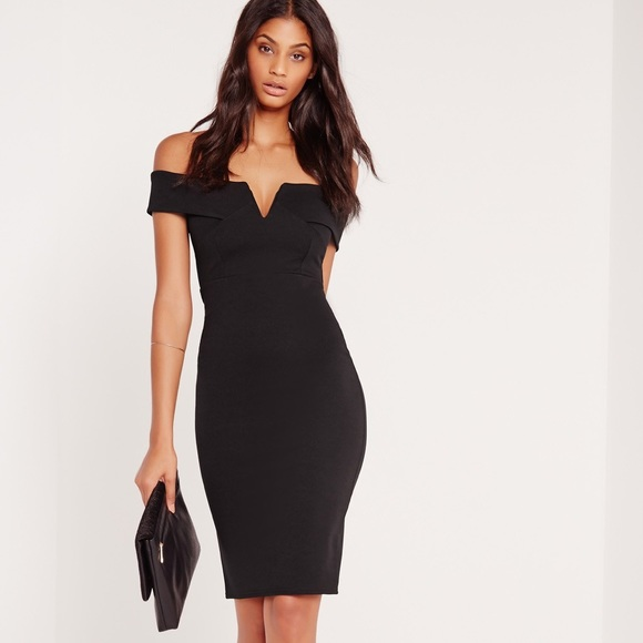 569eea643b2 v front Bardot Midi Evening Dress - Black