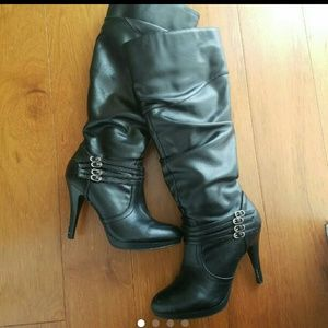 Shoes - Women's black knee high leather boots