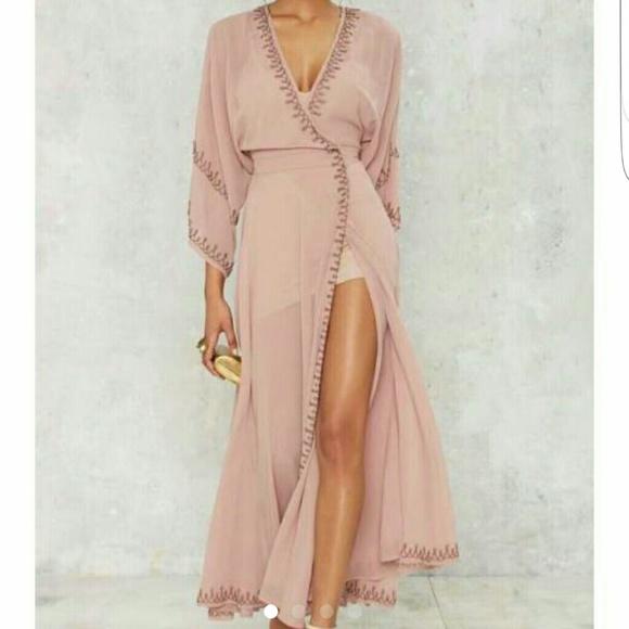 Nasty Gal Dresses | The Jetset Diaries Las Perlas Kimono Dress Mauve ...