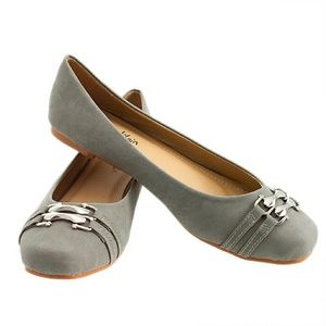 Tory Klein  Shoes - Women Double Strap / Buckle Flats, b-1345, Gray