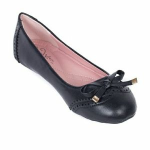 Tory Klein Shoes - Women Ballerina Flats with Bow, Black, b-1642
