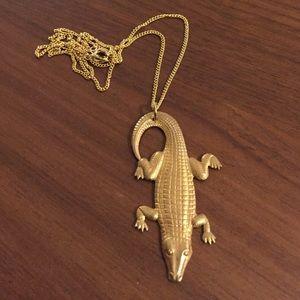 Vintage Jewelry - Vintage brass alligator necklace