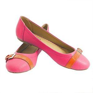 Women Buckle Ballet Flats, Fuchsia Orange b1332