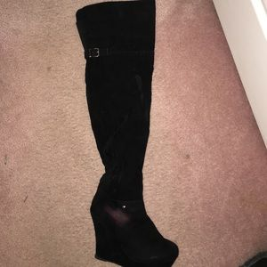 Suede thigh high wedge boots
