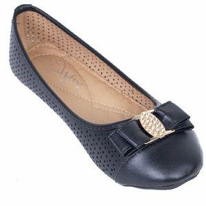 Tory Klein Shoes - Women Ballerina Buckle Flats, black, b-1614