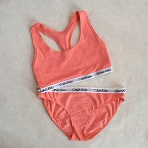 9fedf4d401 Calvin Klein Peach Bralette   Bikini Set