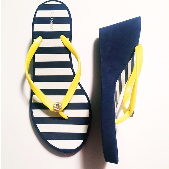 Old Navy Shoes - Nautical Wedge Flip Flops