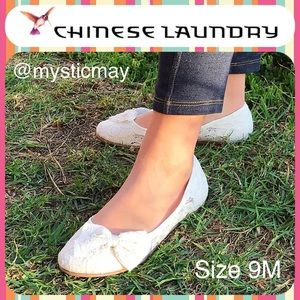 Chinese Laundry Shoes - NWT Beige Floral Lace Bow Front Ballet Flats Shoes