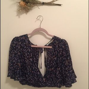 Urban Outfitters Cropped Boho Floral Top