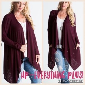 Sweaters - 🔶HP🔷{Plus 1X, 3X} Burgundy Cardigan