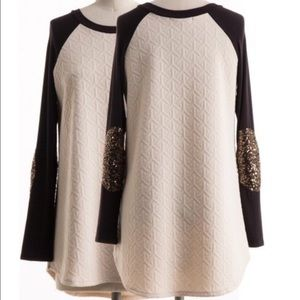 Fashionomics Tops - Sequined elbow patch top