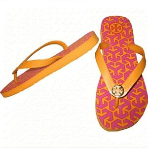 Tory Burch Shoes - Tory Burch Orange & Fuscia Pink Printed Flip Flops