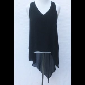 Pure Energy Tops - Black Tiered Asymmetrical Drape Crepe Top 1X