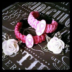 2 Breast cancer awareness paracord bracelets