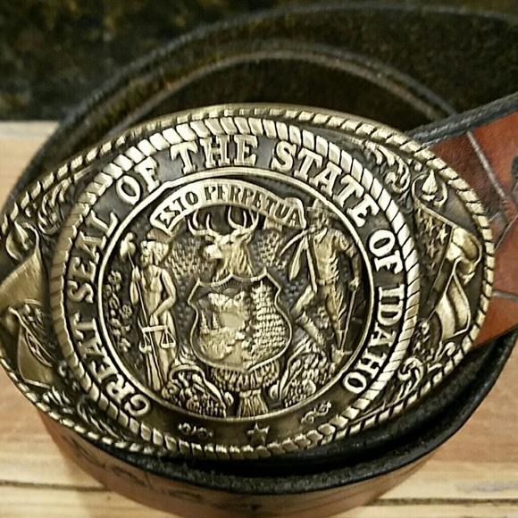 Tony Lama Belt Buckle On Leather Belt