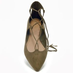 FINAL PRICE Tie-Up Lace Flats in Olive Faux Suede
