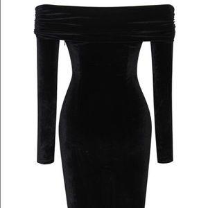 ee635d9527f71 Dresses | Nubia Off Shoulder Velvet Longsleeve Bodycon Dress | Poshmark