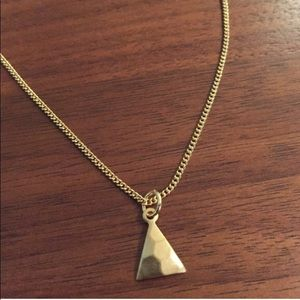 Jewelry - Delicate hammered mini brass triangle necklace