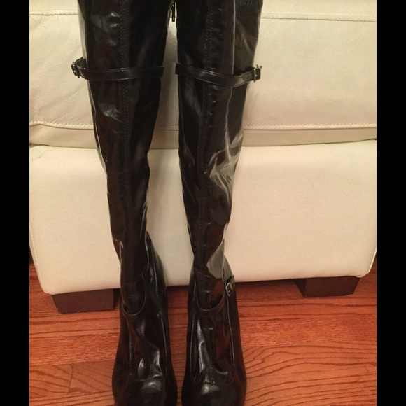 Sexy black knee high boots