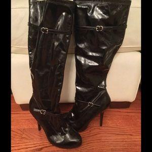Diba Sexy Black Patent Knee-High Boot