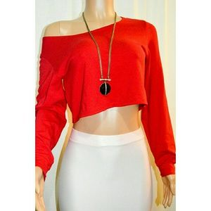 d911c609369 Tops | Red Loose Fit Long Sleeve Crop Top | Poshmark