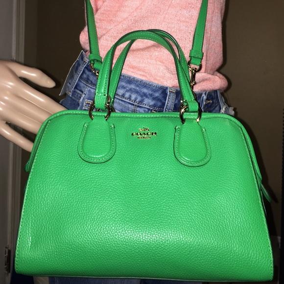 65% off Coach Handbags - COACH Mini Nolita Green Leather Satchel ...