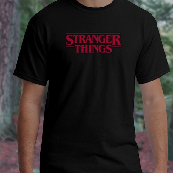 eb72a9c21 Gildan Shirts   Stranger Things Black Tshirt With Red Logo   Poshmark