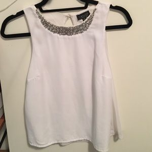 Topshop White Silk Top Size US4