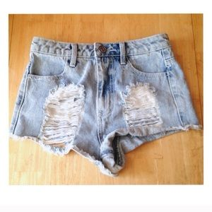 Pants - RSQ Maui High Rise Destroyed Jean Shorts