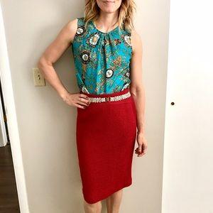 ✨SALE✨Anthropologie tweed red pencil skirt