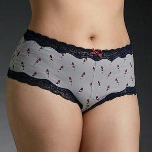 Bird print cheeky panties 2x xxl 18 20 gray plus