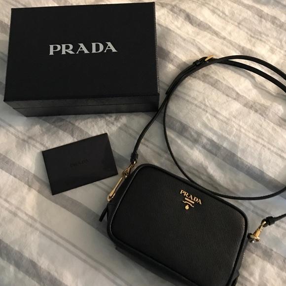 34cc17df8c3b Prada Saffiano Mini Zip Crossbody Bag Black (Nero).  M 58498dec4e8d17dd00028d71