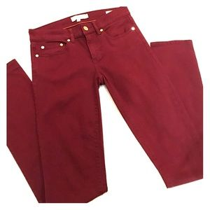 Tory Burch super skinny maroon jeans size 25