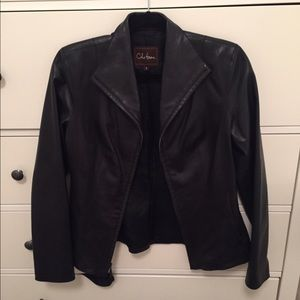 Cole Haan Lambskin genuine leather black jacket