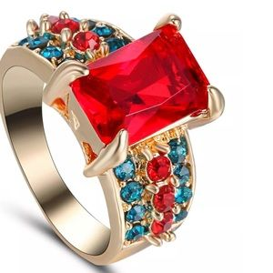 Jewelry - Red Ruby Gold plated Princess cut ring 8