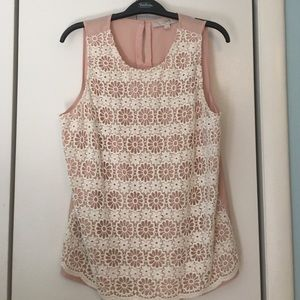 Loft sleeveless crochet blouse