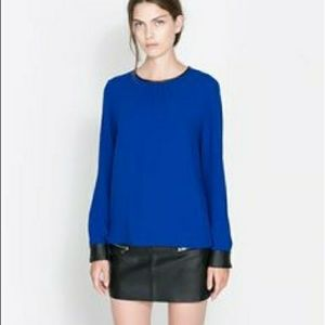 Zara cobalt blue blouse with leather trim S