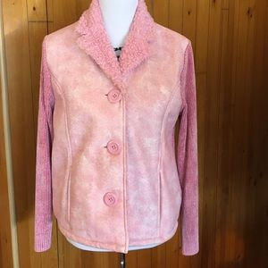 Lisa international Jackets & Blazers - Pink Jacket with faux suede, sweater