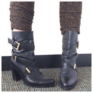 """LK Bennett Shoes - LK Bennett Black Leather """"Leona"""" Heeled Bootie"""