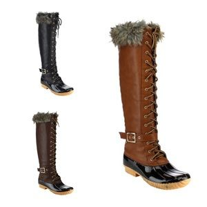 Shoes - ✨HOST PICK✨ Knee High Lace Up Duck Boots