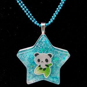Panda kawaii blue star necklace