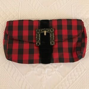 JCrew Red and Black Plaid Clutch