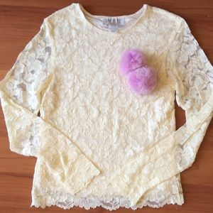 Petite Sophisticate Tops - New! White Laces Long Sleeve Top