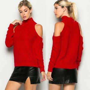SALERed Knit Cold Shoulder Sweater