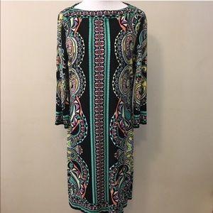 ECI Jersey Knit Multi-Color Boat Neck Shift Dress