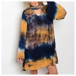 Dresses & Skirts - New- Mustard Tie Dye Tunic Dress