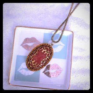 Jewelry - Druzy Crystal Gem Pendant & Necklace