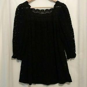 Anna Sui Dresses & Skirts - 💘Anna Sui Sheer Black Lace Mini Dress Top💘